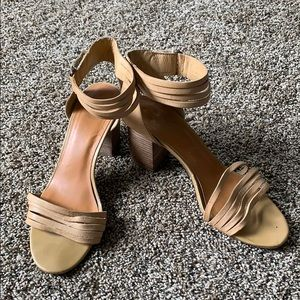 14th & union stacked tan ankle strap heels